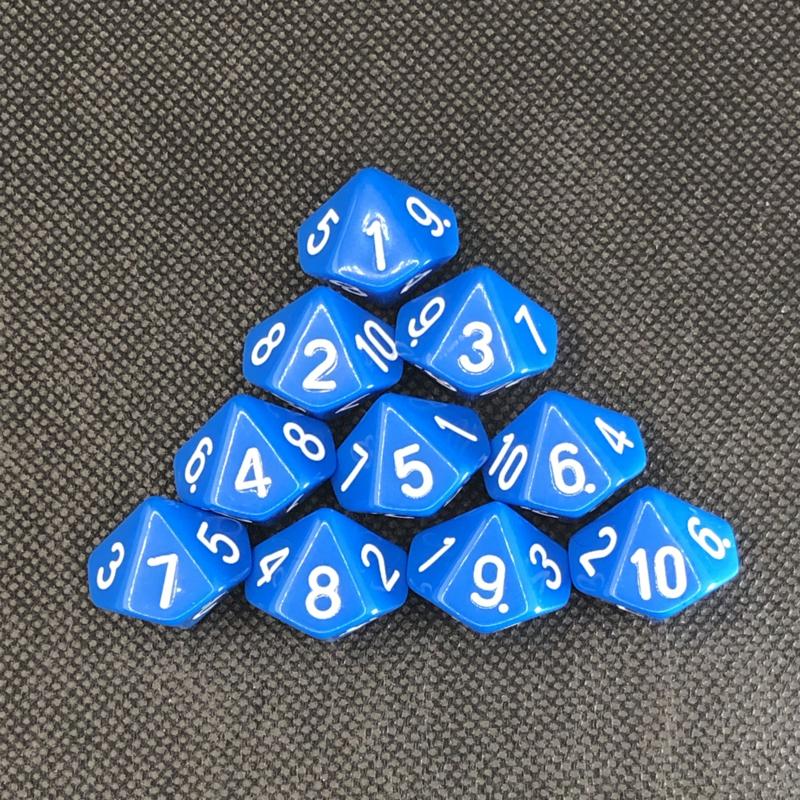 10-kantige dobbelsteen cijfers 1-10 (SET van 10 st.)