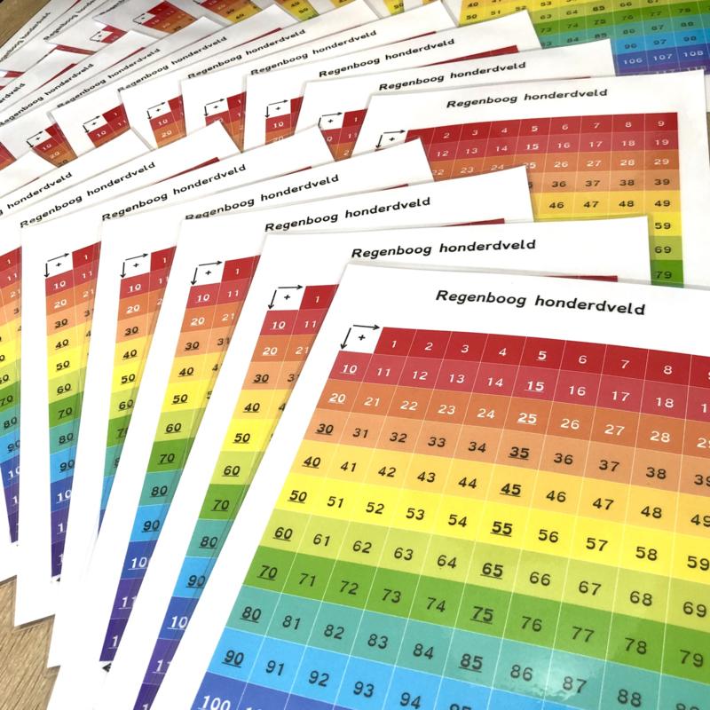 Regenboog 100-veld wisbordje klassenset (30 st.)