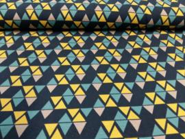 Organic Jersey driehoek oker donkerblauw