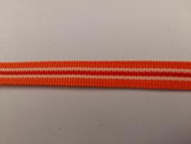 Tassenband nylon oranje met streep