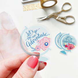 Globe sticker  -Let's go on an adventure-