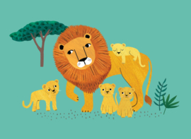 Postcard Lion and cubs