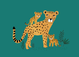 Postcard Cheetah and cubs