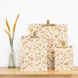 Block bodem zakjes - Hearts - Gold - Beige - 27x15x34 cm