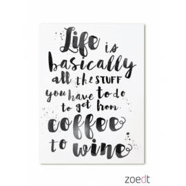 Kaart Life is basically all the stuff you have to do to get from coffee to wine