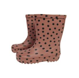 Regenlaarzen brown pink dots