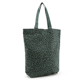 """Leopard"" canvas tas forest green"