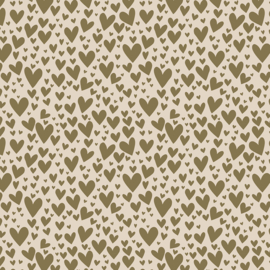 Block bodem zakjes - Hearts - Gold - Beige - 12x7x19 cm