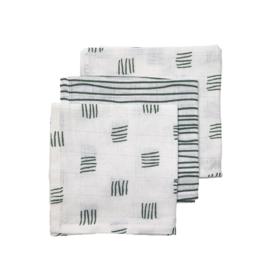 Meyco monddoekjes 3-pack block stripe forest green