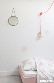 Behang Honingraat wit- roze