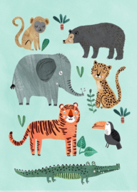 Postcard Wild animals