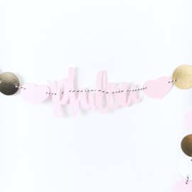 Naam slinger dots goud/roze