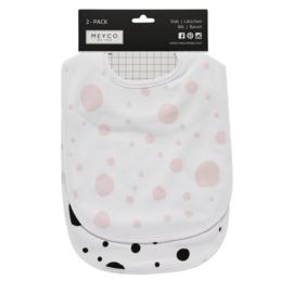 Meyco Slab 2-pack dots roze/zwart