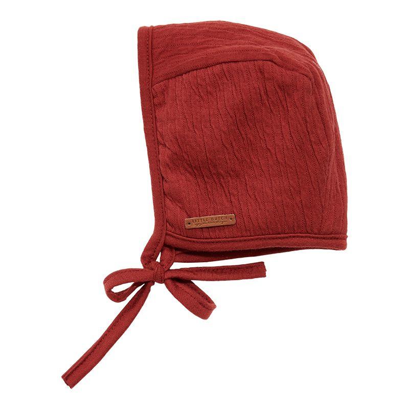 Babymuts met touwtjes Pure Indian Red