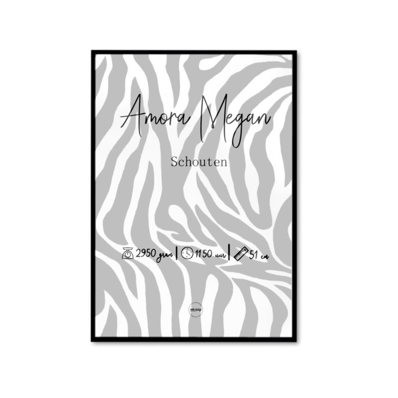 Gepersonaliseerde zebra poster