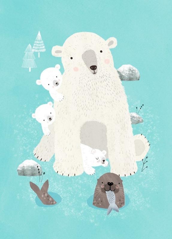 Postcard Nanook & cubs