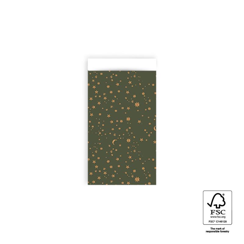 Inpakzakken - Galaxy - Gold Foil - Green - 07x13 cm