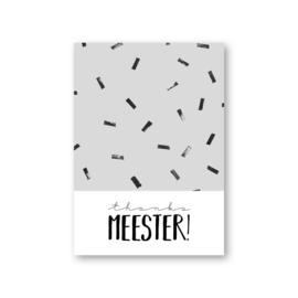 MOODZ design kaart A6 - Thanks meester!