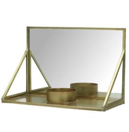 Kaarshouder met spiegel - brons/goud