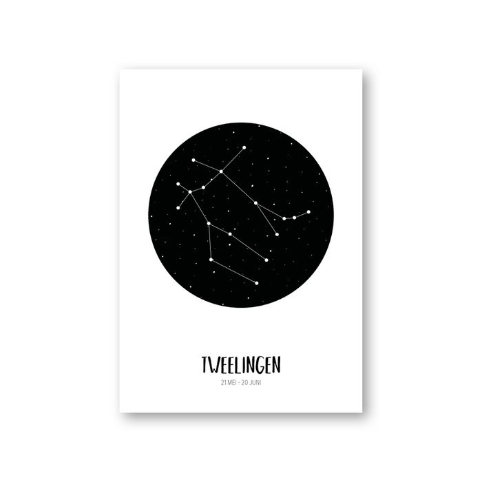 MOODZ design Sterrenbeeldkaart - Tweelingen