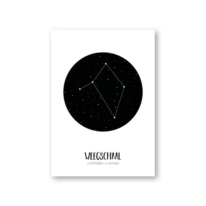 MOODZ design Sterrenbeeldkaart - Weegschaal