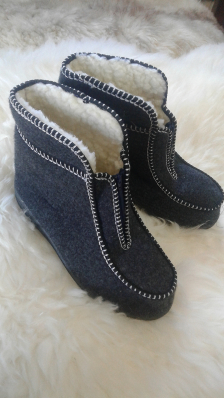 Hoge pantoffels met rits
