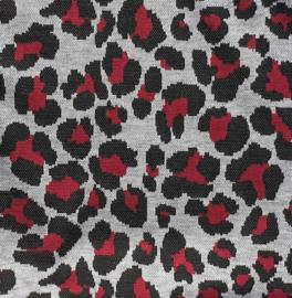 Jaquard Leopard Wijnrood