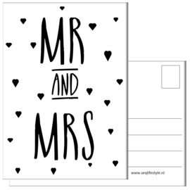 KAART / MR AND MRS 4 STUKS