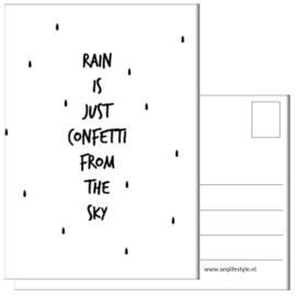 KAART / RAIN IS JUST CONFETTI 4 STUKS