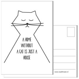 KAART / A HOME WITHOUT A CAT 4 STUKS