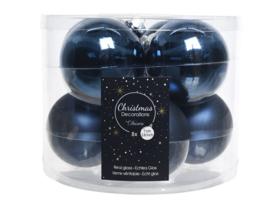 Doosje kerstballen - blauw - 8 stuks