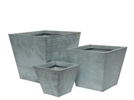 Vierkante plantenpot van zink - set van 3
