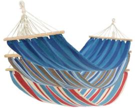 Hangmat in blauw, blauwwit, roodblauw.