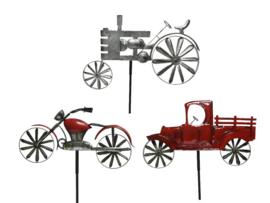 Tuinsteker voertuig van ijzer - 3 assortie