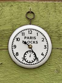 Wandklokje wit/bruin/zwart - paris clocks