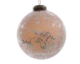 Glazen kerstbal met antieke afwerking (zandkleur)