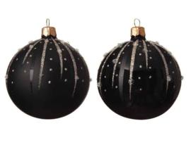 Kerstbal glas zwart (black)