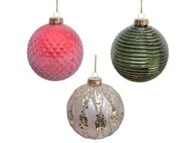 Kerstbal met motiefje - rose, groen en wit
