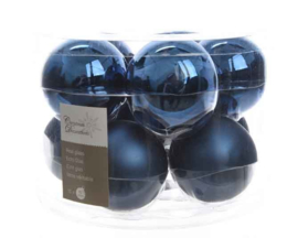 Nachtblauwe glazen kerstbal glans / mat