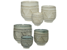 Plantenpot van keramiek - 2 varianten - set van 3