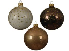 Kerstbal glas emaille , glanzende gestippelde
