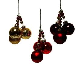 Kerst ballentjes 3 verschilde ballen met kralen  goud, rood, wijnrood