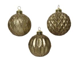 Kerstbal Glas Bruin met Glitter