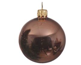 Glazen suedebruine kerstbal (6 stuks)
