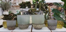 Dik groen glas Brocante   Groot
