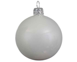 Kerstbal glas emaille winterwit (6 stuks)