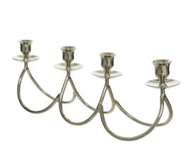 Zilveren kandelaar met 4 kaarshouders