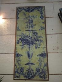 Schilderij/wandbord - bloemen in vaas - klassieke wandtegels
