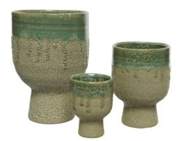 Plantenpot keramiek met groene glazuur afwerking