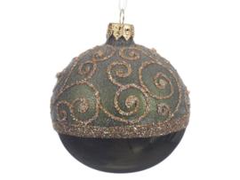 Kerstbal Pine green met gladde onderkant